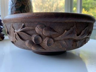 Rare Arts Crafts Biltmore Industries Nc Carved Wood Bowl Early Stamp Acorns