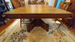 Winged Griffin Dining Table Quartersawn Oak