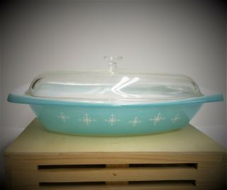 Rare Pyrex Turquoise Compass/atomic Starburst 2 1/2 Qt Oval Dish Casserole W Lid