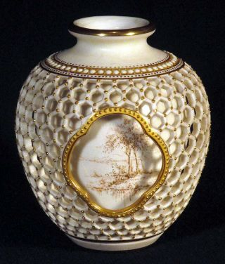 1931 Rare Royal Worcester Double Walled Reticulated Vase George Owen Gilded
