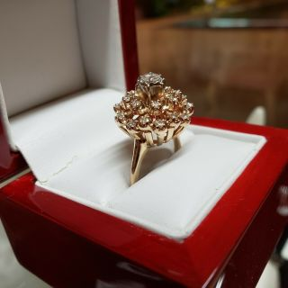 Vintage 14k Gold And Diamond Cocktail Ring Circa 1950