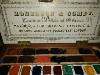 Vtg C.  Roberson & Co.  Art Paint Wood Box Water And Oil Colors London Since 1810