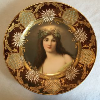 Antique Royal Vienna Beehive Germany Portrait Plate Signed Wagner