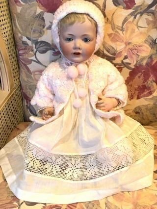 "Antique Hilda German Gesch N1070 23 "" Sleepy Blue Eyes,  Open Mouth W 2 Teeth"