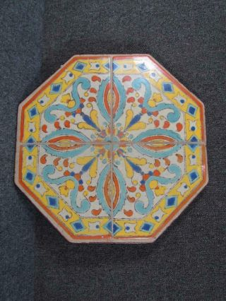Antique California Art Pottery Tile Top For A Wrought Iron Table Base