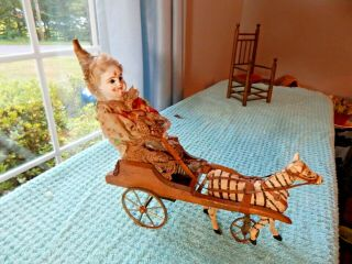 Antique French Early Toy Clown Being Pulled By Zebra Rare