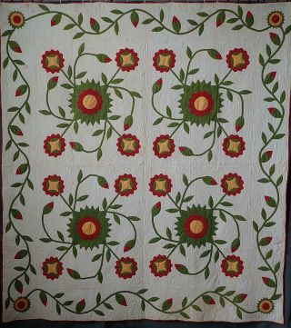 Oh My Fantastic & Early 19th C Antique Democrat Or Whig Rose Quilt 87x79