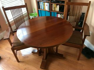 Stickley Cherry Kitchen Dining Table With Two Stickley Chairs