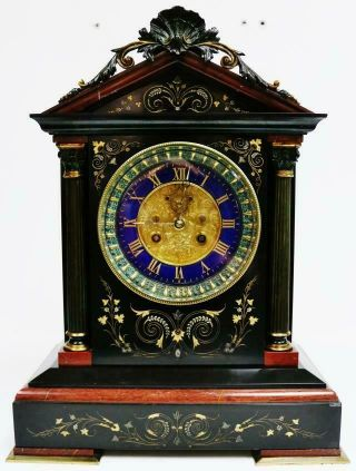 Deluxe Antique French 8 Day Black & Red Marble & 2 Tone Bronze Mantel Clock