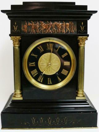 Unusual Antique French 8 Day Black Marble & Bronze 8 Bell Musical Mantel Clock