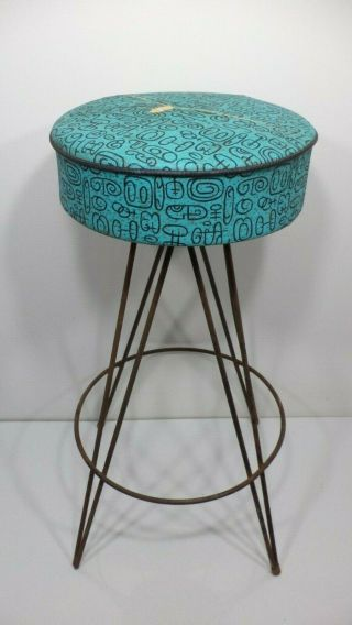 Vintage Hairpin Mid Century Bar Stool By Dee Mfg.  Chair 50s Wrought Iron Atomic