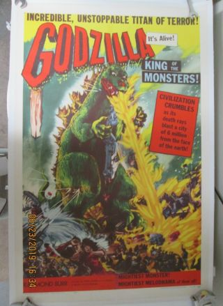 Godzilla King Of The Monsters 0riginal 1956 Movie Poster Near Linen Rare