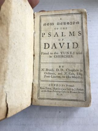 Rare 1752 A Version Of The Psalms Of David Book Antique Dated 1752