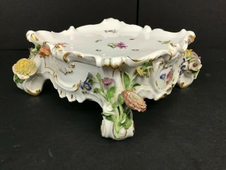 Vintage Meissen Porcelain Square Base With Applied Flowers