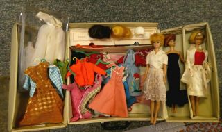 3 Vintage Barbie Dolls - Clothes - Accessories - Carrying Case - 1960