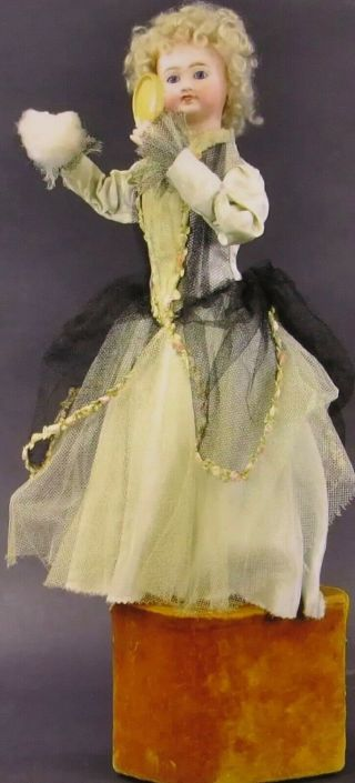 "Antique 21 "" French Limoges Doll Automaton W/mirror Powdering Nose"