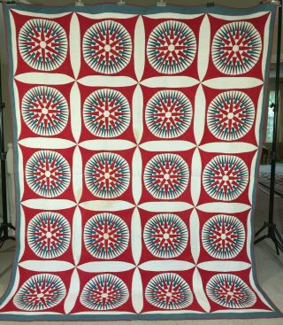 Spectacular Antique Mariners Compass Quilt C1860 Signed.  Very Well Quilted