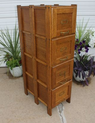 Antique Solid Oak Office Mission Arts & Crafts 4 Drawer File Cabinet Clean&Cute 5