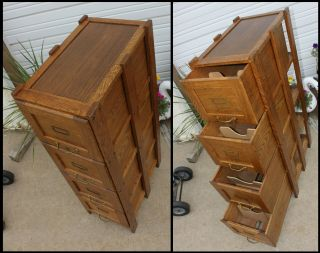 Antique Solid Oak Office Mission Arts & Crafts 4 Drawer File Cabinet Clean&Cute 6