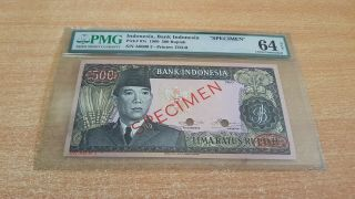 Indonesia 500 Rupiah 1960 Tdlr Pmg 64 Net Specimen Number 2 Extremely Rare