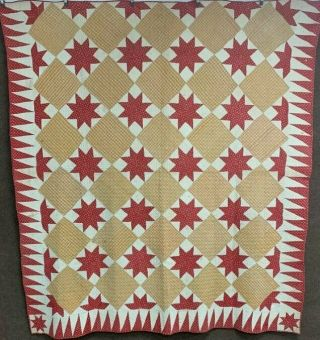 44 Early Americana Stars C 1840s Turkey Red Antique Quilt Framed