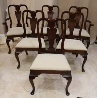Mahogany Queen Anne Dining Chairs - Set Of 6 - Henkel Harris