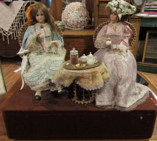 "Vintage 16 "" French Bisque Doll Automaton Marked Latil Pernot Musical W/2 Dolls"
