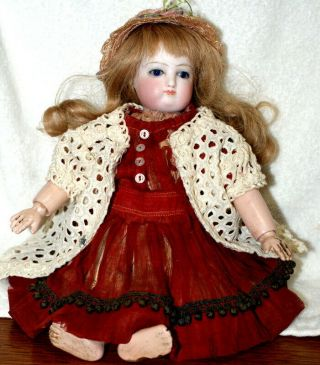 "Estate Antique 10 "" Closed Mouth French Bisque Doll C.  1880 - Rare"