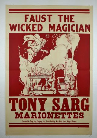 "28 "" X42 "" Vtg 1934 Tony Sarg Marionettes Faust The Wicked Magician Poster"