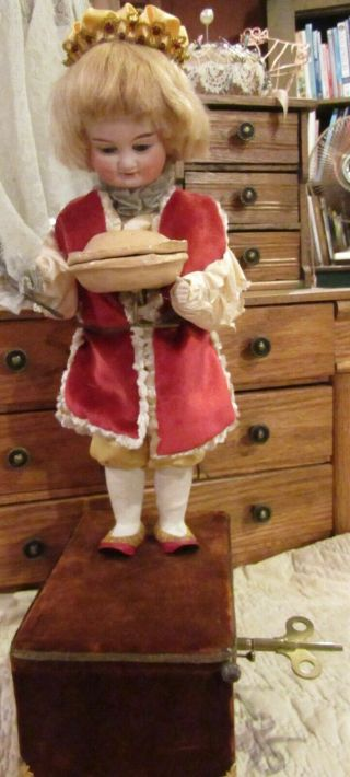"Antique 21 "" French Bisque Doll Automaton Little Jack Horner,  So Rare"