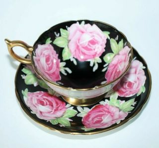 Aynsley Black Cabbage Rose Tea Cup And Saucer Pattern C926 Rare Circa 1930