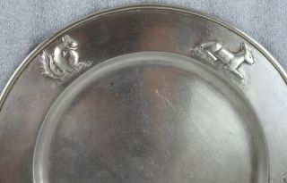 "Kalo Hand Wrought Sterling Silver Chicago Arts and Crafts Child's Plate 9 ¼"" 2"