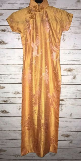 Vintage Chinese Patterned Silk Damask Cheongsam Qipao Art Deco Shanghai Orange