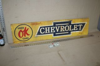 Rare 1950s Chevrolet Ok Cars Painted Metal Sign Gas Oil Service Dealership