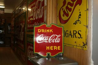 Rare 1930s Drink Coca Cola Here 2 - Sided Porcelain Metal Sign Green Red Yellow 66