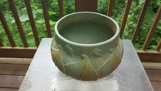 Rare Huge Arts & Crafts Early Velmoss Roseville Jardiniere Green Tan 577 - 9 Wow