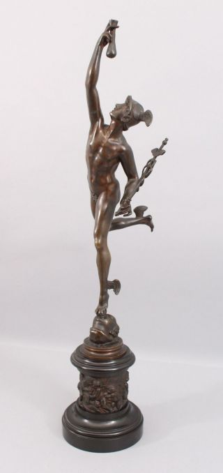Antique 19thc Victorian Grand Tour Bronze Sculpture,  Neoclassical Nude Mercury