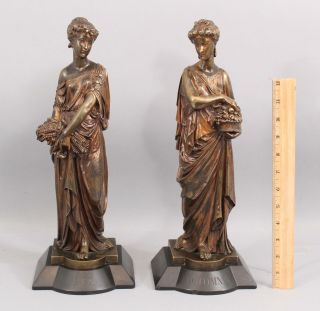 19thc Antique Leon Pilet Classical Women Bronze Sculptures Summer Autumn Seasons