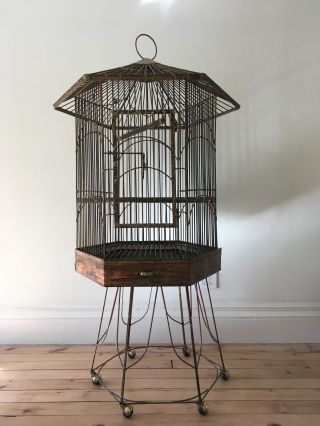 Large Vintage Parrot Bird Cage Unique Handcrafted Design Brass/copper Antique