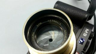 Som Hermagis 70mm F1.  8 Leica M Mount Modified Coupled Brass Lens Vintage French