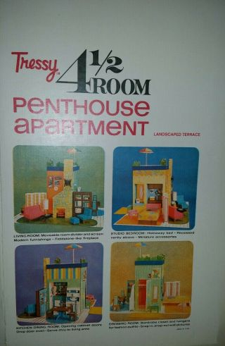 Vtg American Character Tressy 4.  5 Room Penthouse Cardboard Nos Instructions,  Box
