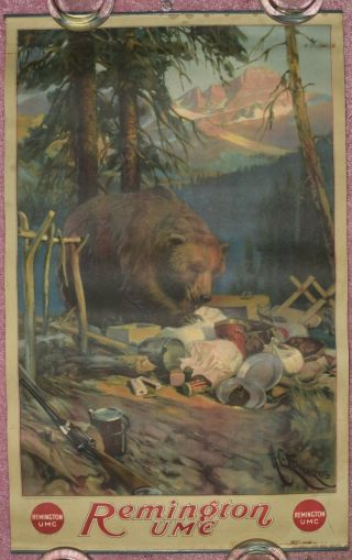 1919 Remington Umc Ammunition Advertising Poster (grizzlybear Destroying Camp)