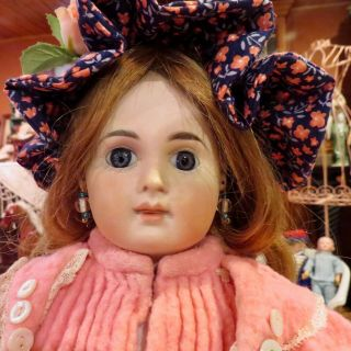 "Antique 18 "" Rare French Bisque Bebe Portrait Child Jumeau W/hh Wig & Cork Pate"