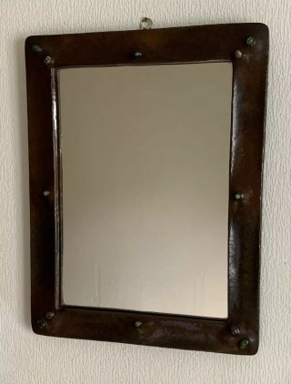 Liberty And Co Copper Arts And Crafts Mirror Ruskin Enamel Cabochon's