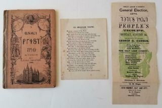 "1868.  Deseret First Book With Rare Mormon 1874 Election Ticket,  "" To Brigham Young """