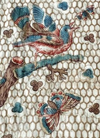 Important Early C 1830 - 40s Chintz Quilt 97 Broderie Perse Fabric Birds Antique