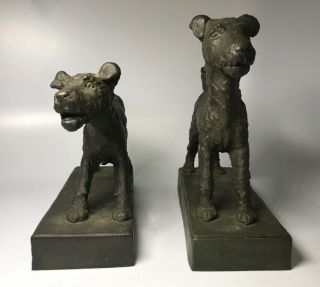 E.  B.  Parsons Kunst Bronze Terrier Dog Art Deco Statue Bookend Sculptures Gorham