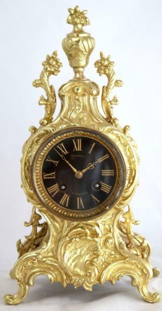 Antique Mantle Clock French Stunning C1870 Embossed Pierced Bronze Bell Striking