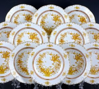 Set Of 12 Herend Hungary Yellow Indian Basket Pattern 9 - 1/2 Inch Rim Soup Bowls