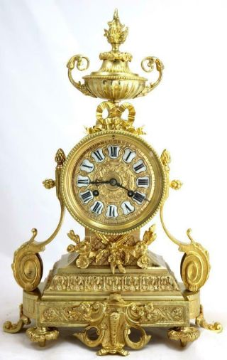 Antique Mantle Clock French Lovely 1870s Embossed Rococo Bronze Bell Striking